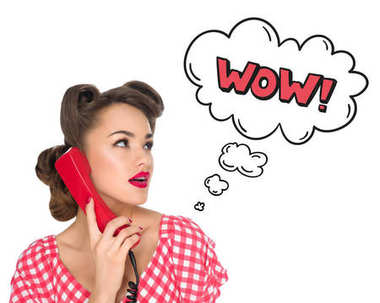 Portrait of pin up woman talking on old telephone with comic style wow sign isolated on white stock vector