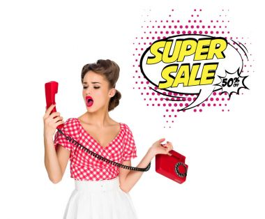 Portrait of pin up woman talking on old telephone with super sale speech bubble isolated on white stock vector