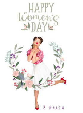 happy women`s day greeting card with young woman in retro style clothing blowing kiss isolated on white