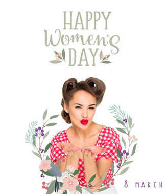 happy women`s day greeting card with attractive woman in retro style clothing blowing kiss isolated on white