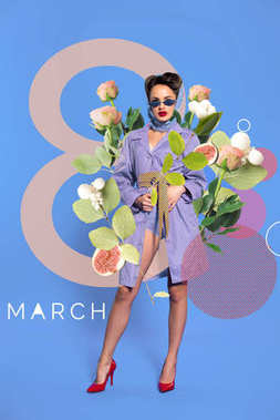 8th march greeting card with fashionable woman in retro clothing and sunglasses with flowers