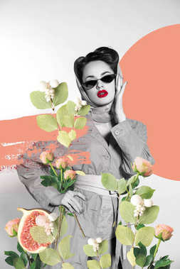 creative collage of stylish woman in retro clothing and sunglasses with flowers