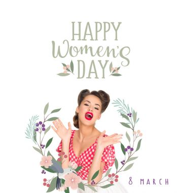 happy women`s day greeting card with emotional young woman in retro style clothing isolated on white