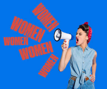 portrait of fashionable young woman in pin up style clothing with loudspeaker and women repeating signs
