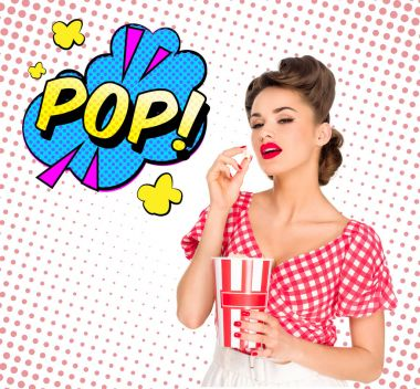 Portrait of beautiful young woman with popcorn and comic style pop sign isolated on white stock vector