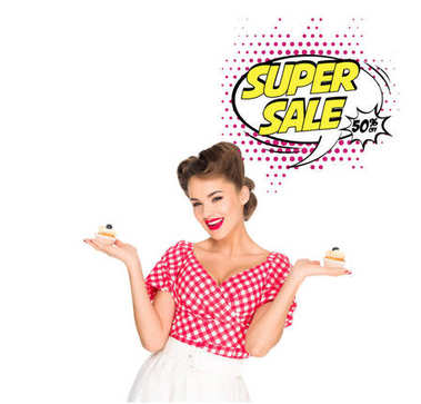 Portrait of beautiful woman in pin up clothing with cupcakes and super sale speech bubble isolated on white stock vector