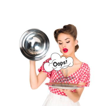 Beautiful young woman in retro clothing with oops comic style symbol on serving tray in hands isolated on white stock vector