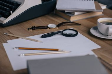close-up shot of writer workplace with supplies
