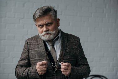 Serious senior man in tweed suit looking at camera stock vector
