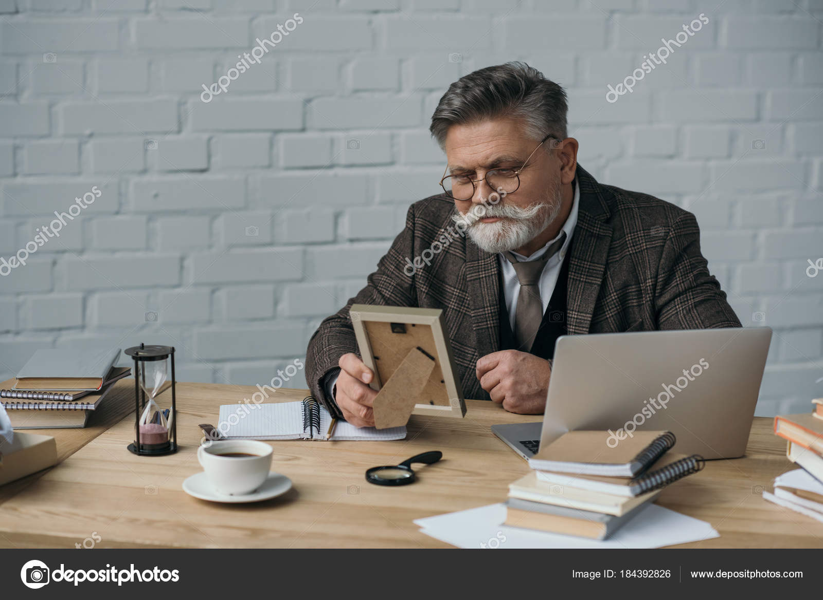 Senior Writer Looking Photo Frame His Workplace — Stock Photo ...