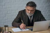 Fotografie gutaussehender Senior-Autor arbeitet mit Laptop und macht Notizen in Notizbuch