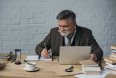 glücklicher Senior-Schriftsteller, der mit Laptop arbeitet und Notizen im Notizbuch macht