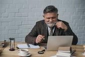 zufriedene Seniorautorin arbeitet mit Laptop