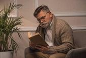 starší muž, zatímco sedí v pohodlném křesle čtení knihy