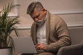 Fotografie Ernst senior Mann mit Laptop beim Sitzen im Sessel