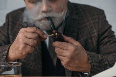 cropped shot of handsome senior man smoking pipe