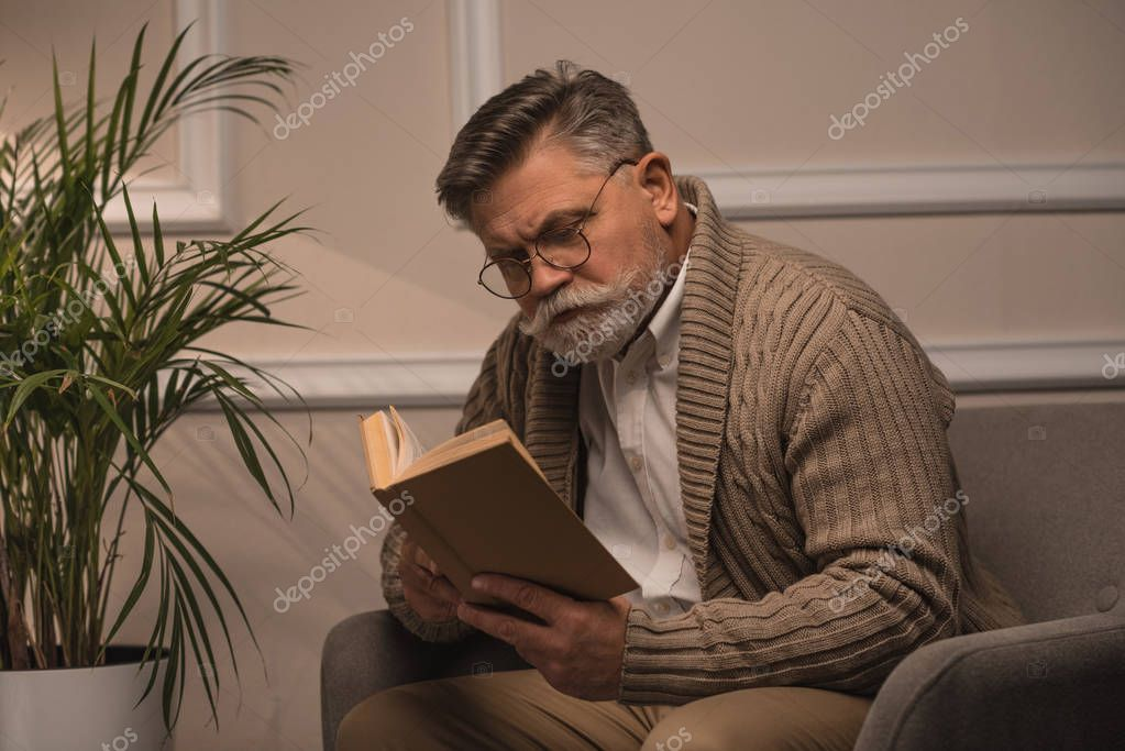 senior man reading book while sitting in comfy armchair