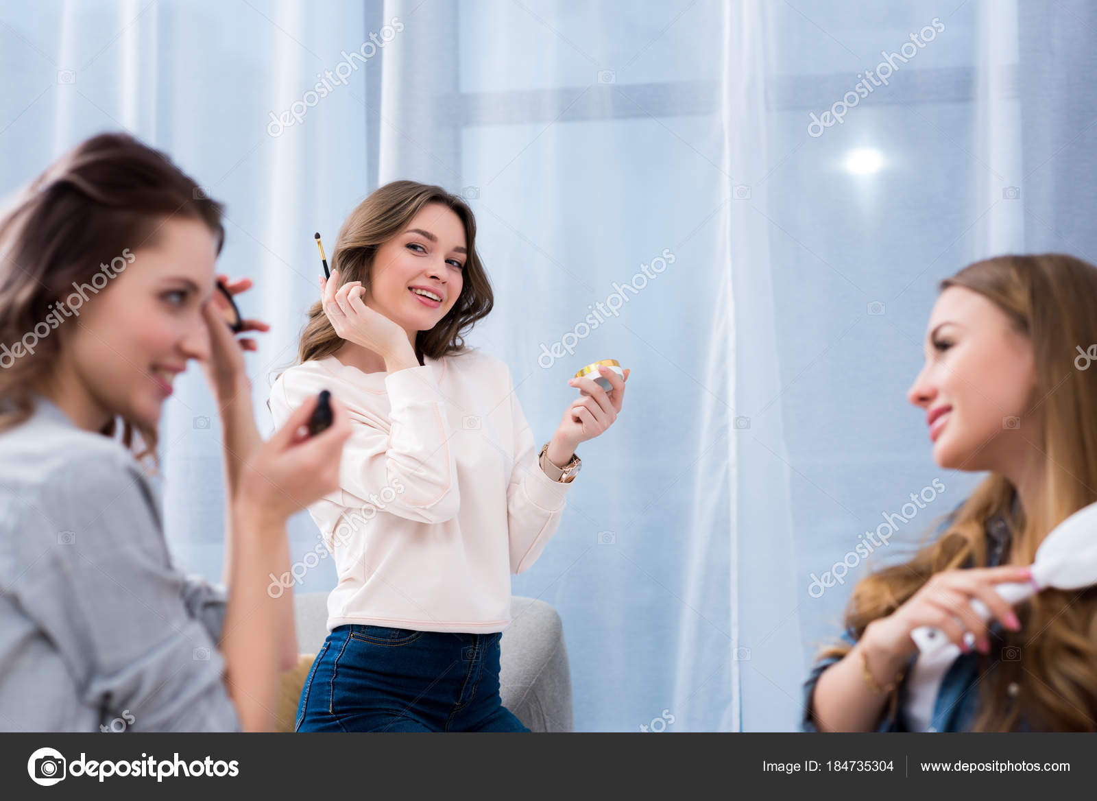 Beautiful Happy Girls Applying Makeup Combing Hair Home Stock Photo Image By C Igorvetushko 184735304