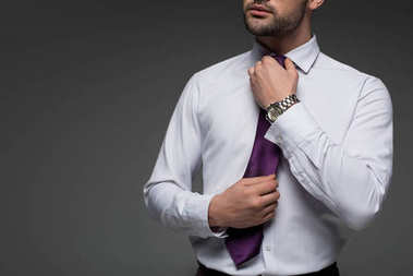 Cropped image of businessman correcting tie isolated on grey isolated on grey