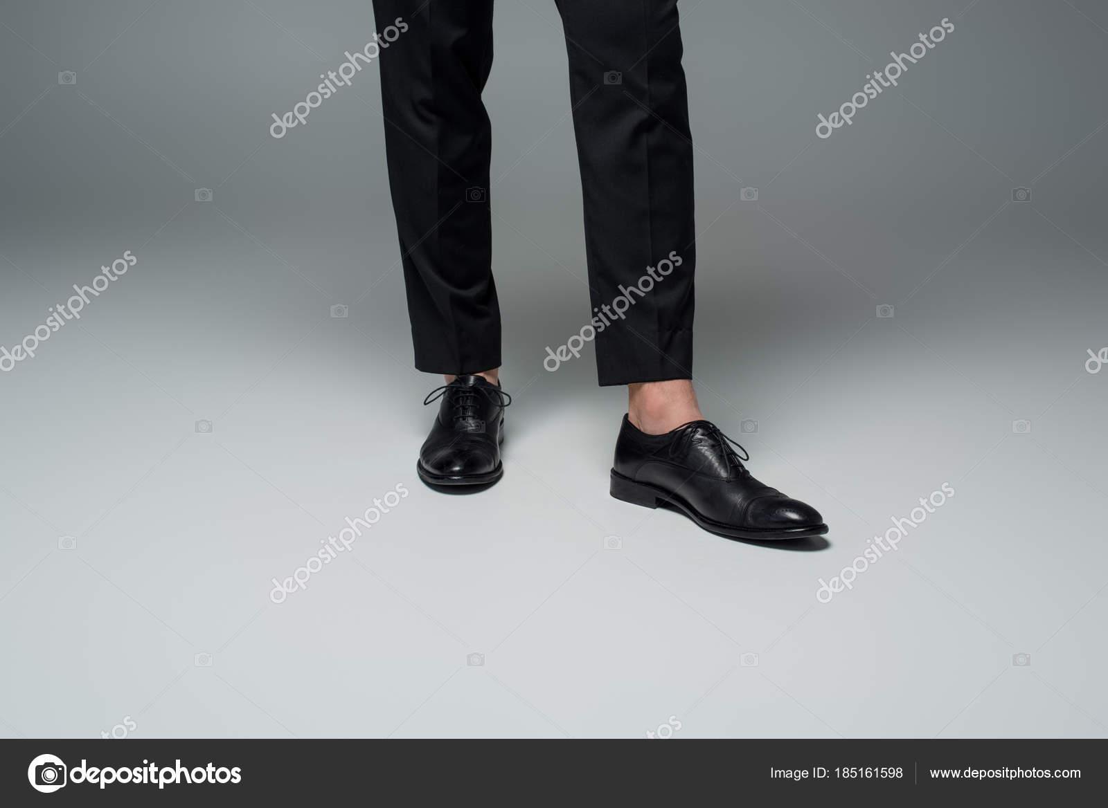 Partial View Stylish Male Legs Black