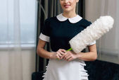 Fotografie cropped shot of happy maid in uniform with duster