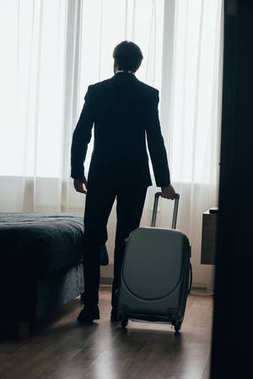 rear view of businessman entering hotel suite with luggage