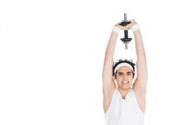 Young skinny man holding dumbbell over own head stock vector