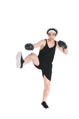 Thin sportsman in boxing gloves beating by hand and leg isolated on white stock vector