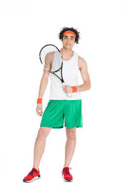 Thin tennis player in headband standing with racket isolated on white