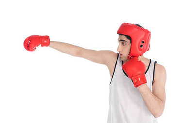 Side view of young boxer beating by hand in glove isolated on white