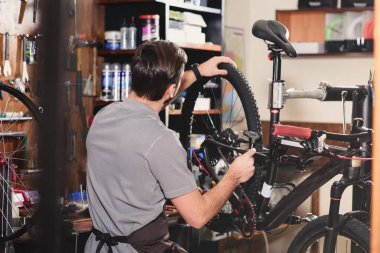 back view of young worker fixing bicycle in workshop