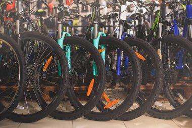wheels of bicycles selling in bike shop