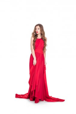Beautiful glamorous woman posing in red dress, isolated on white stock vector