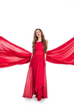 Glamorous woman posing in red dress, isolated on white stock vector