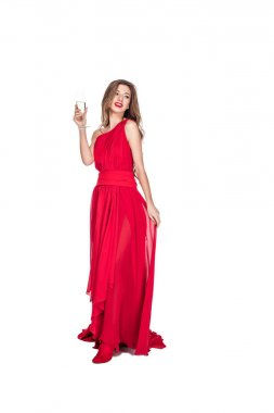 Attractive girl posing in red chiffon dress with champagne glass, isolated on white stock vector