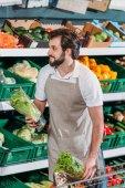 s úsměvem prodavače uspořádání čerstvé zeleniny v obchodu s potravinami