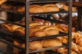 Fotografie close up view of freshly baked bakery in hypermarket