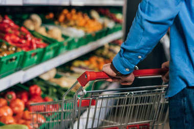 cropped shot of man with shopping cart in grocery shop