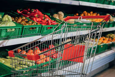 selective focus of empty shopping cart and fresh vegetables in supermarket