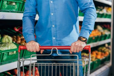 Cropped shot of man with shopping cart in grocery shop stock vector