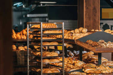 close up view of freshly baked bakery in hypermarket