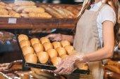 részleges kilátással eladó megszervezése loafs kenyér bevásárló piacon