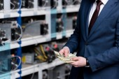 cropped view of businessman counting cash at ethereum mining farm