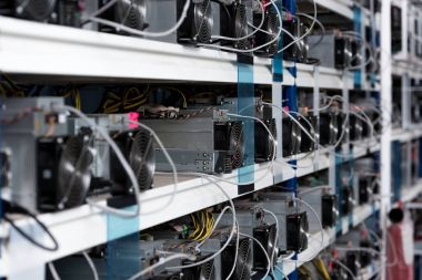 close-up shot of power supply units at ethereum mining farm