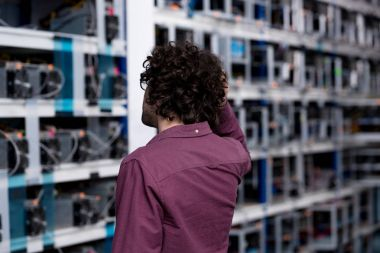 rear view of computer engineer looking at cryptocurrency mining farm