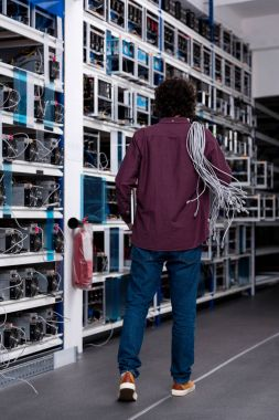rear view of computer engineer with ethernet wires on shoulder at cryptocurrency mining farm