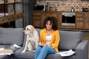 young african american woman working at home on couch while her dog sitting beside with eyeglasses