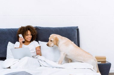 woman working with laptop and talking by phone in bed with her dog