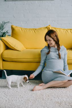 smiling pregnant woman sitting on floor with jack russell terrier