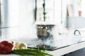 Fotografie pánev s párou na elektrický sporák v kuchyni